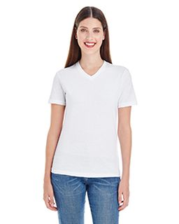 Ladies Fine Jersey Short-Sleeve V-Neck-