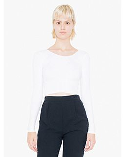 Ladies Cotton Spandex Long Sleeve Crop Top-American Apparel