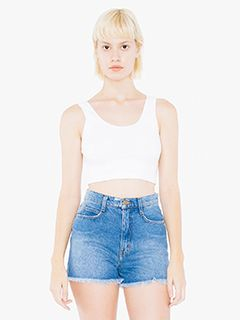 Ladies Cotton Spandex Crop Tank-American Apparel