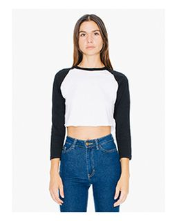 Ladies Poly-Cotton 3/4-Sleeve Cropped T-Shirt-American Apparel