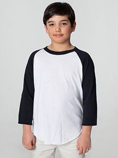 Youth Poly-Cotton 3/4-Sleeve T-Shirt-American Apparel