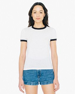 Ladies Poly-Cotton Ringer T-Shirt-American Apparel