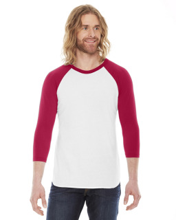 Unisex Poly-Cotton Usa Made 3/4-Sleeve Raglan T-Shirt-