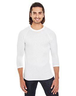 Unisex Poly-Cotton 3/4-Sleeve Raglan T-Shirt-American Apparel