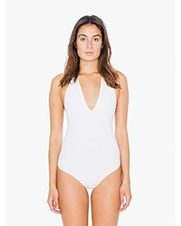 Ladies Cotton Spandex Halter Bodysuit-American Apparel