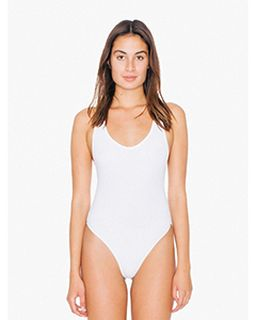Ladies Cotton Spandex Tank Thong Bodysuit-American Apparel