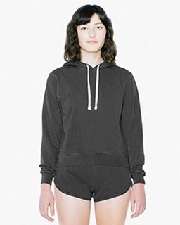 Ladies French Terry Garment-Dyed Mid-Length Hooded Sweatshirt-American Apparel