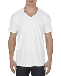 Adult 4.3 Oz., Ringspun Cotton V-Neck T-Shirt-