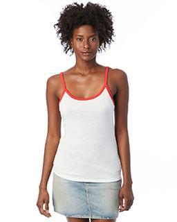 Ladies Ringer Vintage Jersey Cami Tank Top-