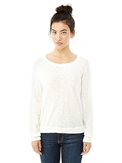 Ladies Wash Slub Slouchy Pullover-