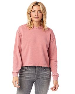Ladies Burnout French Terry Cropped Hooded Sweatshirt-