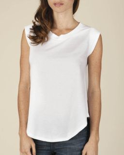 Ladies Cap-Sleeve Satin Jersey Crew