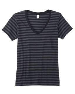 Ladies Lightweight Striped V-Neck T-Shirt-