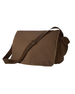 14 Oz. Pigment-Dyed Raw-Edge Messenger Bag-Authentic Pigment