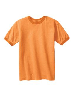 6 Oz. Direct-Dyed Heather Ringer T-Shirt-Authentic Pigment