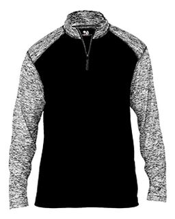 Mens Blend Colorblock Quarter-Zip Long-Sleeve Pullover