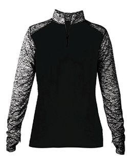 Ladies Blend Colorblock Quarter-Zip Long-Sleeve Pullover