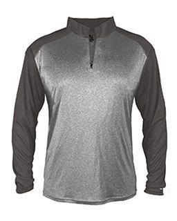 Adult Sport Heather Tonal Quarter-Zip Long-Sleeve Pullover