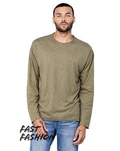 Fwd Fashion Unisex Triblend Raw Neck Long-Sleeve T-Shirt-