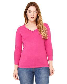 Missy Jersey 3/4-Sleeve V-Neck T-Shirt-