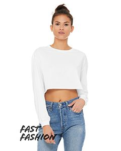 Fast Fashion Ladies Cropped Long-Sleeve T-Shirt-Bella + Canvas