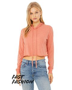 Ladies Cropped Long Sleeve Hooded T-Shirt-