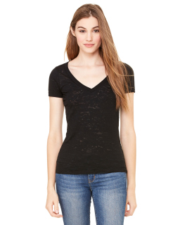 Ladies Burnout Short-Sleeve V-Neck T-Shirt-