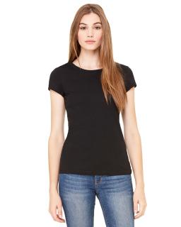 Ladies Sheer Mini Rib Short-Sleeve T-Shirt-