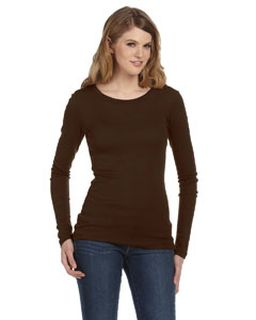 Ladies Sheer Mini Rib Long-Sleeve T-Shirt-