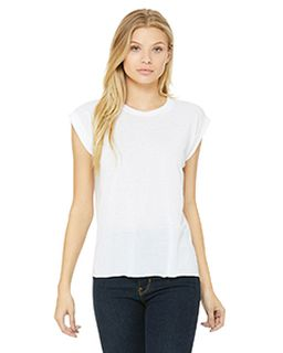 Ladies Flowy Muscle T-Shirt With Rolled Cuff-