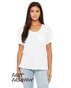 Fast Fashion Ladies Flowy Pocket T-Shirt-Bella + Canvas