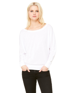 Ladies Flowy Long-Sleeve Off Shoulder T-Shirt-