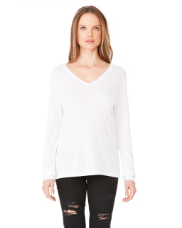 Ladies Flowy Long-Sleeve V-Neck-