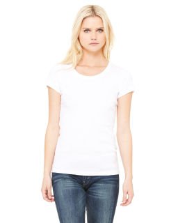Ladies Baby Rib Short-Sleeve Scoop Neck T-Shirt