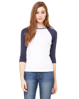 Ladies Baby Rib 3/4-Sleeve Contrast Raglan T-Shirt-Bella + Canvas