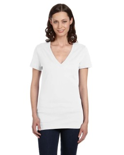 Ladies Jersey Short-Sleeve Deep V-Neck T-Shirt-