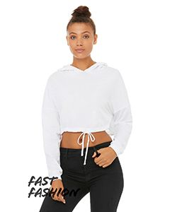 Fast Fashion Ladies Cinched Cropped Hooded T-Shirt-Bella + Canvas