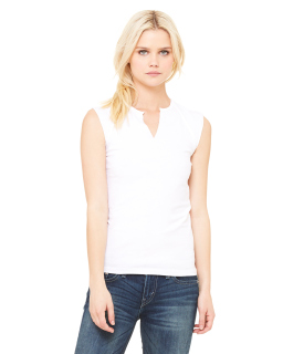 Ladies Cotton/Spandex Slit-V Raglan T-Shirt
