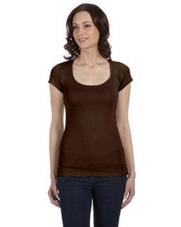 Ladies Sheer Mini Rib Short-Sleeve Scoop Neck T-Shirt-Bella + Canvas