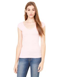 Ladies Sheer Mini Rib Cap-Sleeve Deep V-Neck T-Shirt-