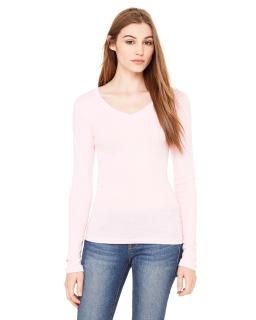 Ladie's Sheer Mini Rib Long-Sleeve V-Neck T-Shirt