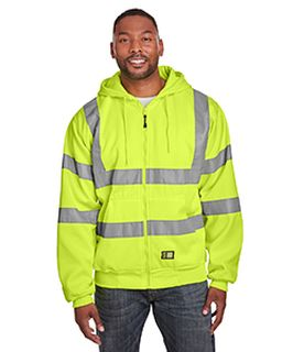 Mens Berne Hi-Vis Class 3 Lined Full-Zip Hooded Sweatshirt-Berne