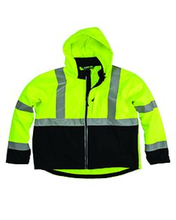 Mens Hi-Vis Class 3 Hooded Softshell Jacket-