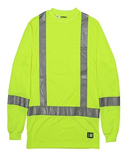 Mens Hi-Vis Class 3 Performance Long Sleeve Pocket T-Shirt-