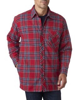 Mens Flannel Shirt Jacket With Quilt Lining-