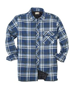 Mens Tall Flannel Shirt Jacket With Quilt Lining-