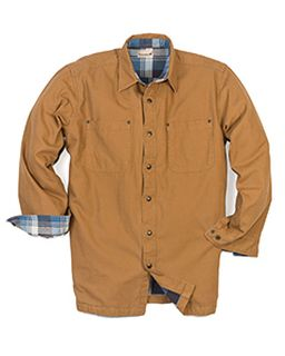 Mens Tall Canvas Shirt Jacket With Flannel Lining-