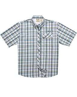Mens Tall Sport Utility Short-Sleeve Plaid Shirt-