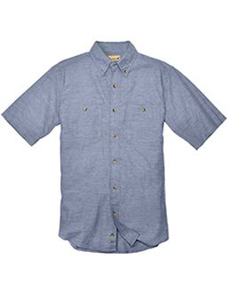 Mens Slub Chambray Short-Sleeve Shirt-
