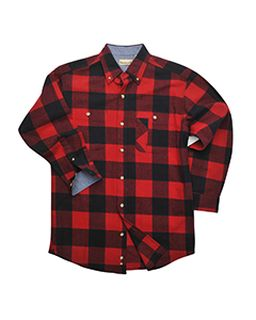 Mens Yarn-Dyed Long-Sleeve Brushed Flannel-